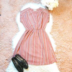 Monteau V-Neck Dusty Rose Striped Mini Dress